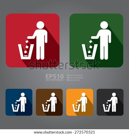 Vector : Square Dustbin, Litter Bin or Trash Can Long Shadow Style Icon, Label, Sticker, Sign or Banner  - stock vector
