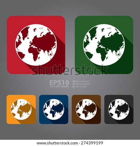 Vector : Square Earth Planet Flat Long Shadow Style Icon, Label, Sticker, Sign or Banner - stock vector