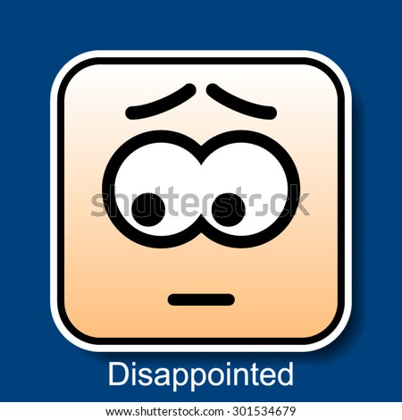 Vector Square Emoticon Disappointed with rounded corners - stock vector