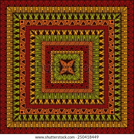 Vector  Square Ethnic Pattern, all brushes included, you can create your own pattern - stock vector