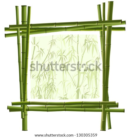 Vector square frame for photography from green bamboo. - stock vector