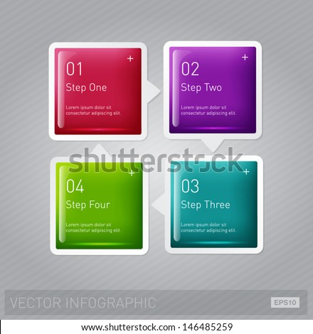 Vector square glossy infographic layout - stock vector