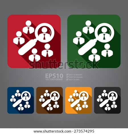 Vector : Square Group of Businessman With Magnifying Glass Long Shadow Style Icon, Label, Sticker, Sign or Banner  - stock vector