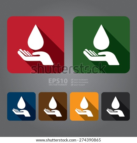 Vector : Square Hand Hold Water Drop Flat Long Shadow Style Icon, Label, Sticker, Sign or Banner - stock vector