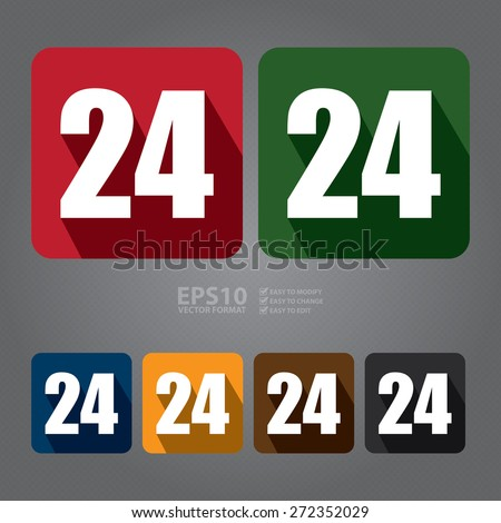 Vector : Square 24, 24HR, 24HRS, 24 Hours Service, 24 Hours Open Long Shadow Style Icon, Label, Sticker, Sign or Banner - stock vector