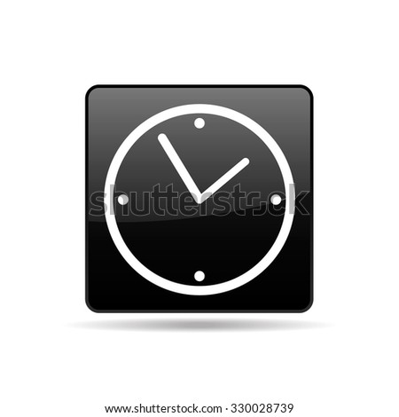 Vector square icon black with white clock face - stock vector