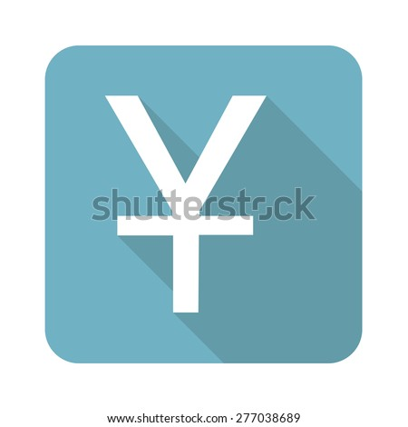 Vector square icon with yen symbol, isolated on white - stock vector