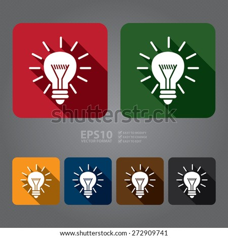 Vector : Square Idea or Light Bulb Long Shadow Style Icon, Label, Sticker, Sign or Banner - stock vector