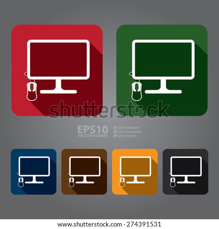 Vector : Square PC Computer Monitor with Mouse Flat Long Shadow Style Icon, Label, Sticker, Sign or Banner - stock vector