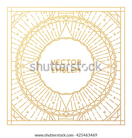 Vector square poster design template, greeting card or album cover with copy space in trendy linear style - vintage background for  advertising or  packaging - vector frame for logo in golden color - stock vector