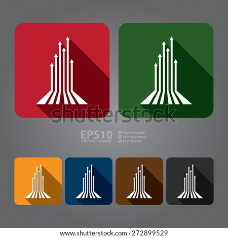 Vector : Square Rising Arrow Long Shadow Style Icon, Label, Sticker, Sign or Banner  - stock vector