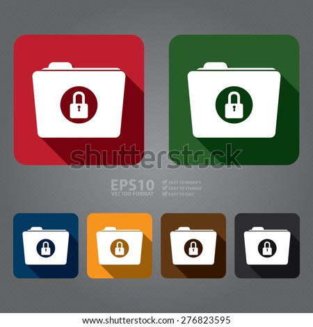 Vector : Square Secret, Security, Folder With Key Lock Flat Long Shadow Style Icon, Label, Sticker, Sign or Banner - stock vector