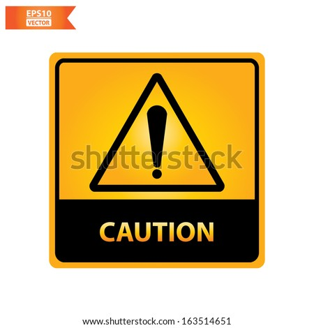 Vector : square yellow and black caution with caution text and sign isolated on white background. Eps10. - stock vector