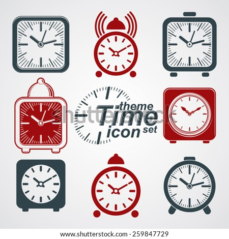 Vector squared 3d alarm clocks with clock bell, decorative wake up conceptual icons collection. Graphic design elements get up theme. Waiter ringing symbols. - stock vector