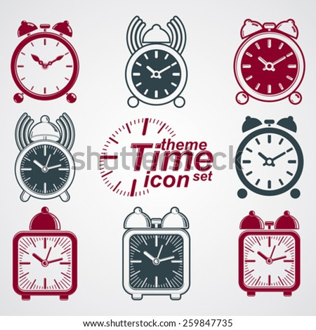 Vector squared 3d alarm clocks with clock bell, decorative wake up conceptual icons collection. Graphic design elements �¢?? get up theme. Waiter ringing symbols.