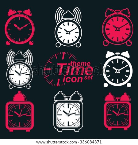 Vector squared 3d alarm clocks with clock bell, decorative wake up conceptual icons collection. Graphic design elements, get up theme. Waiter ringing symbols. - stock vector
