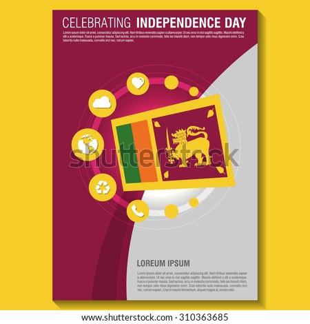 Vector Sri Lanka Independence Day Flyer template. Creative Brochure Title Page. National Day Leaflet design element. vector illustration - stock vector