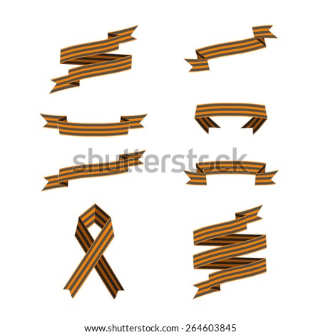 Vector St. George ribbons on white background. Symbol of heroism. Victory day symbol.
