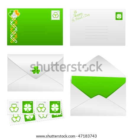 Vector St. Patrick's Day envelopes with shamrock stamps and Celtic design. JPG and TIFF versions of this vector illustration are also available in my portfolio. - stock vector