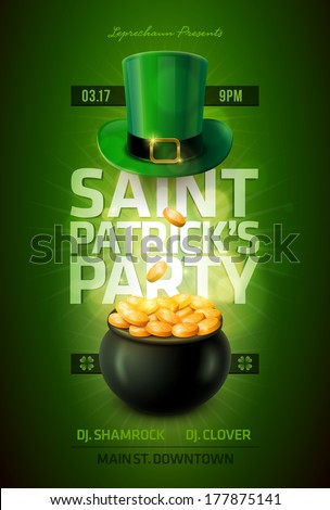 Vector St. Patrick's Day poster design template. Pot of Gold and Leprechaun green hat.  Elements are layered separately in vector file. - stock vector