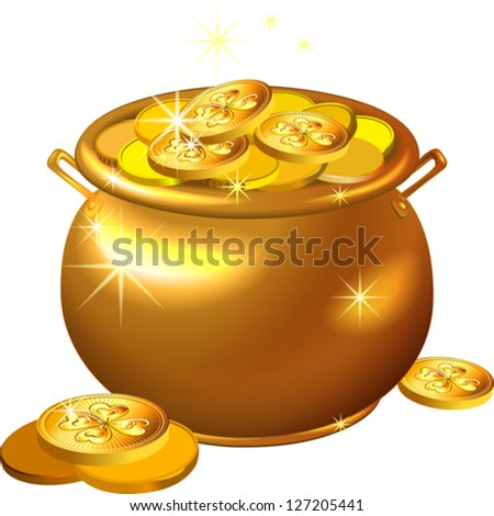 vector St. Patrick`s Day shiny gold pot filled with leprechaun coins isolated on the white background - stock vector