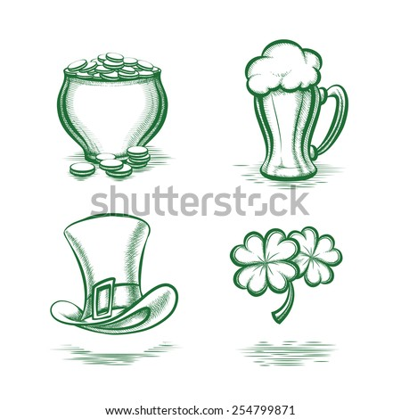 Vector St Patricks Day Symbols. Leprechaun hat and pot of gold, beer mug and four-leaf clover - stock vector