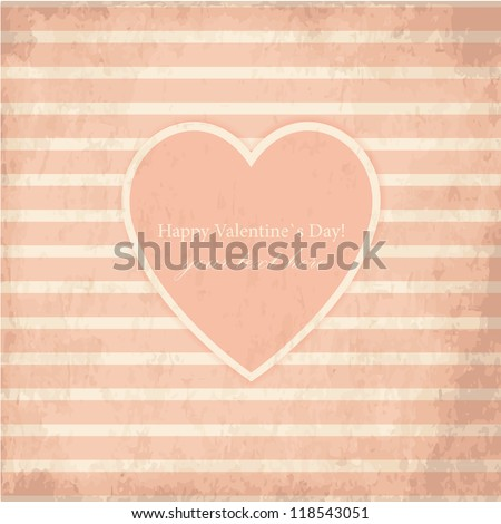 Vector St Valentine Day's Grunge Greeting Card - stock vector