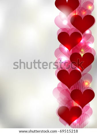 Vector St. Valentine greeting card with red abstract hearts - stock vector