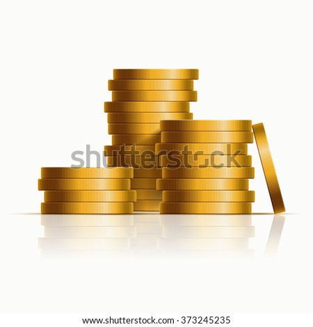 Vector stacked golden coins. Vector illustration. - stock vector