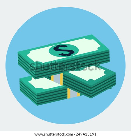 Vector stacks of dollars icon - stock vector