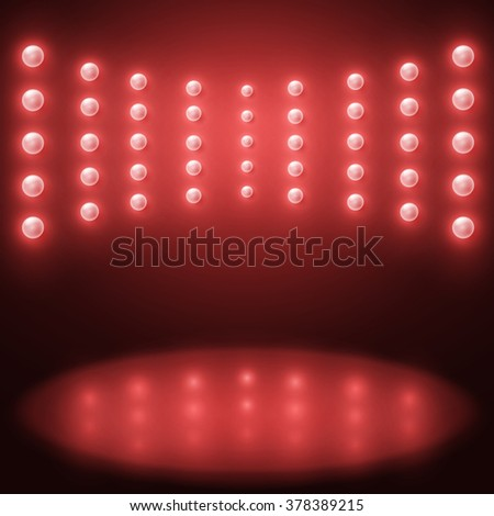 Vector stage Lighting Background with red light bulbs - stock vector