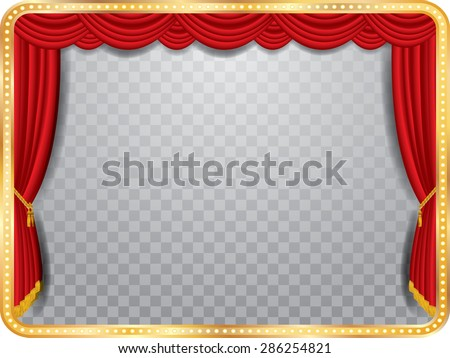 vector stage with red curtain, golden frame and transparent shadow - stock vector