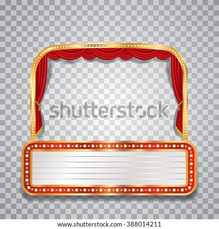 vector stage with red curtain, golden frame, transparent shadow and blank billboard - stock vector