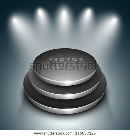 Vector stage with spotlight. EPS 10. - stock vector