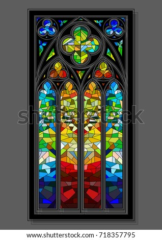 Vector Stained Glass Window Gothic Design