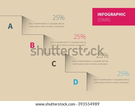 vector stairs with 4 options, upward steps template / infographic stairs background - stock vector