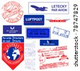 Vector stamp AIR MAIL set - stock vector