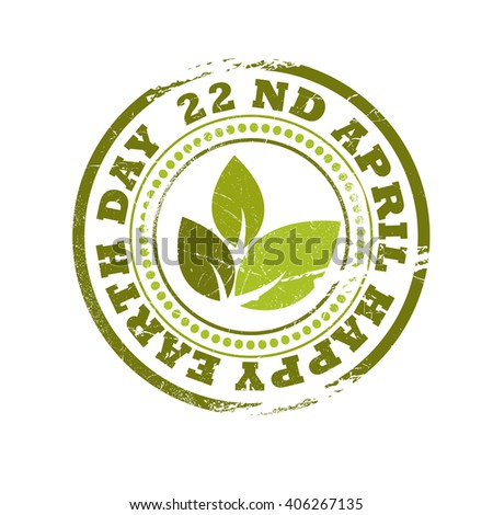 Vector stamp of happy earth day.