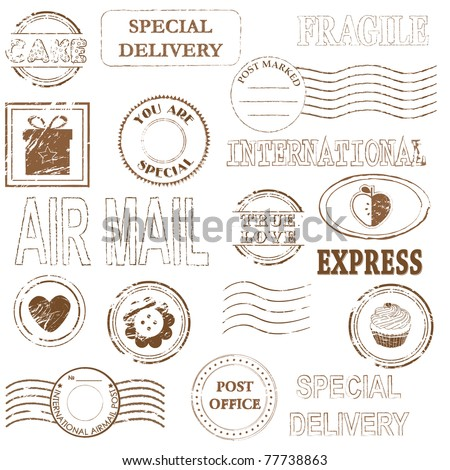 Vector stamp set collection - stock vector