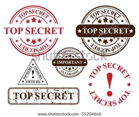 vector stamp template - top secret - stock vector