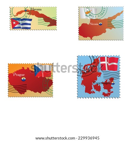 Vector stamp with an image of map - stock vector