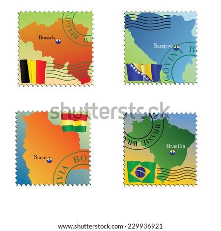 Vector stamp with an image of map  capital of Belgium, Bolivia, Bosnia, Brazil - stock vector