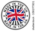 Vector stamp with flag of GB, circular lettering made in the UK. - stock photo