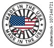 Vector stamp with map and flag of the USA. Made in the USA. - stock photo