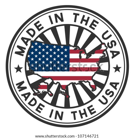 Vector stamp with map and flag of the USA. Made in the USA. - stock vector