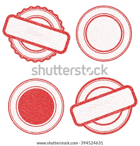 Vector Stamp without text. Set of Stamps . Red Stamps . Grunge Rubber Texture Stamp . Distressed Stamp Texture . Post Stamp Collection . Vector Stamps . Circle Stamps . - stock vector