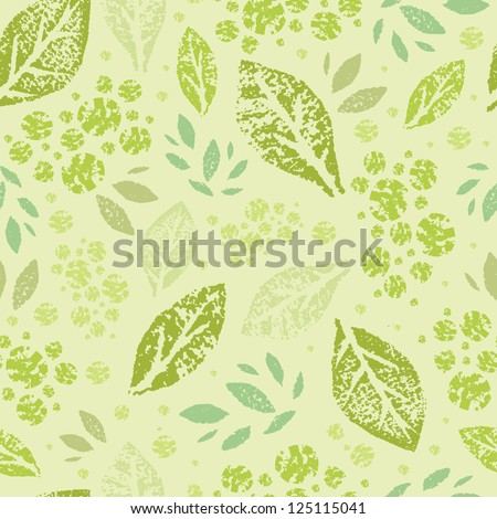 Vector stamped green leaves seamless pattern background with abstract plants with fun leaves and branches forming a floral texture. - stock vector