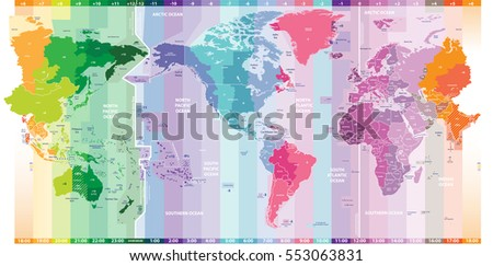 Vector standard time zones world political vectores en stock vector standard time zones of the world political map centered by america gumiabroncs Images