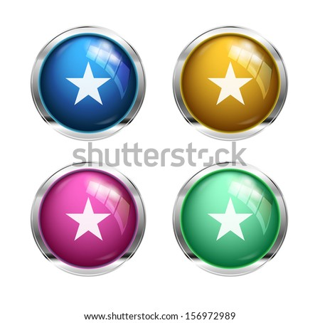 Vector star buttons: blue, yellow, pink and green - stock vector