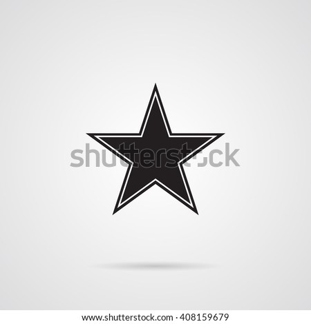 Vector Star Dark Gray Flat Icon over white.  - stock vector